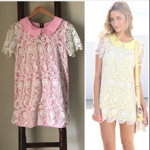 Lace overlay mini dress tunic in pink & cream.